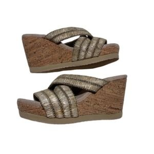Volatile Taupe Cream Cork Wedge Sandals Slides Shoes Size 8